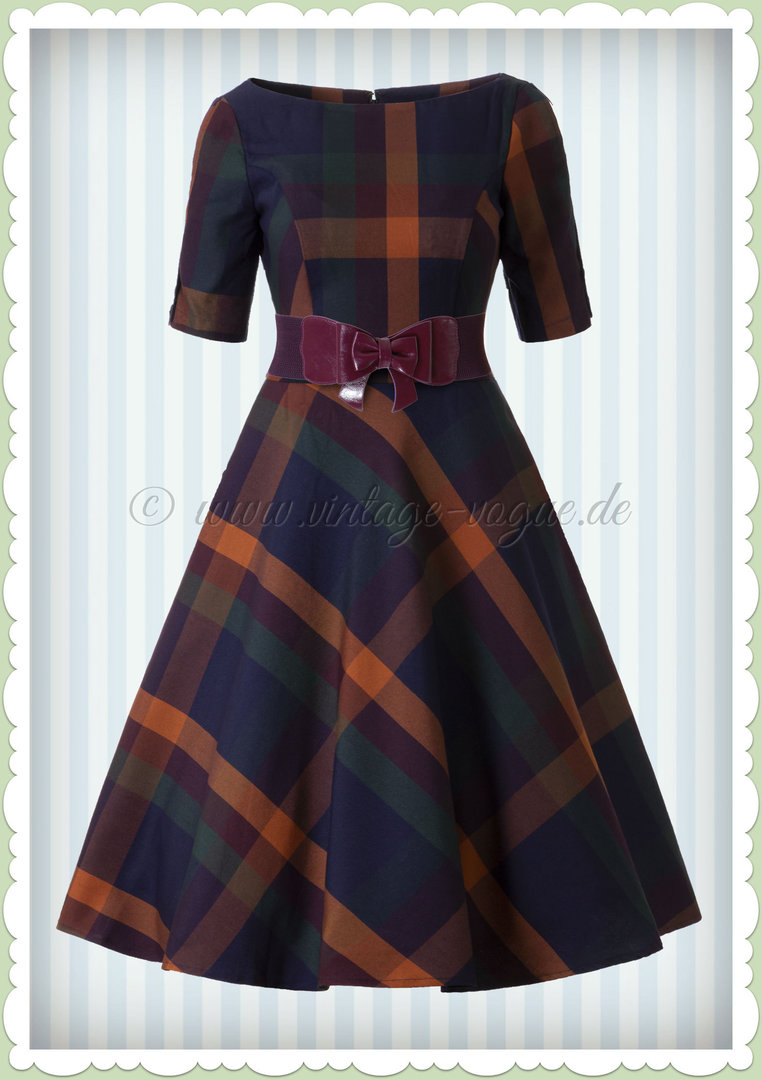 Banned 50er Jahre Retro Rockabilly Tartan Swing Kleid - Sally - Violett