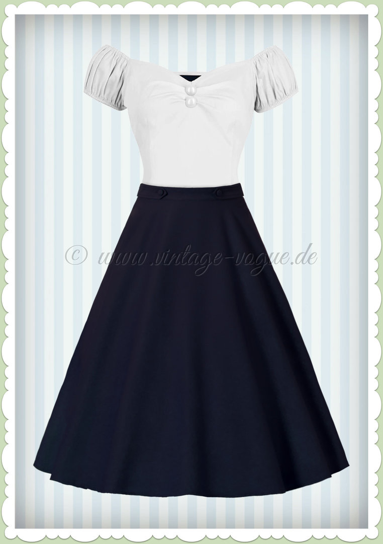 Banned 50er Jahre Retro Rockabilly Petticoat Rock - Di Di Skirt - Navy