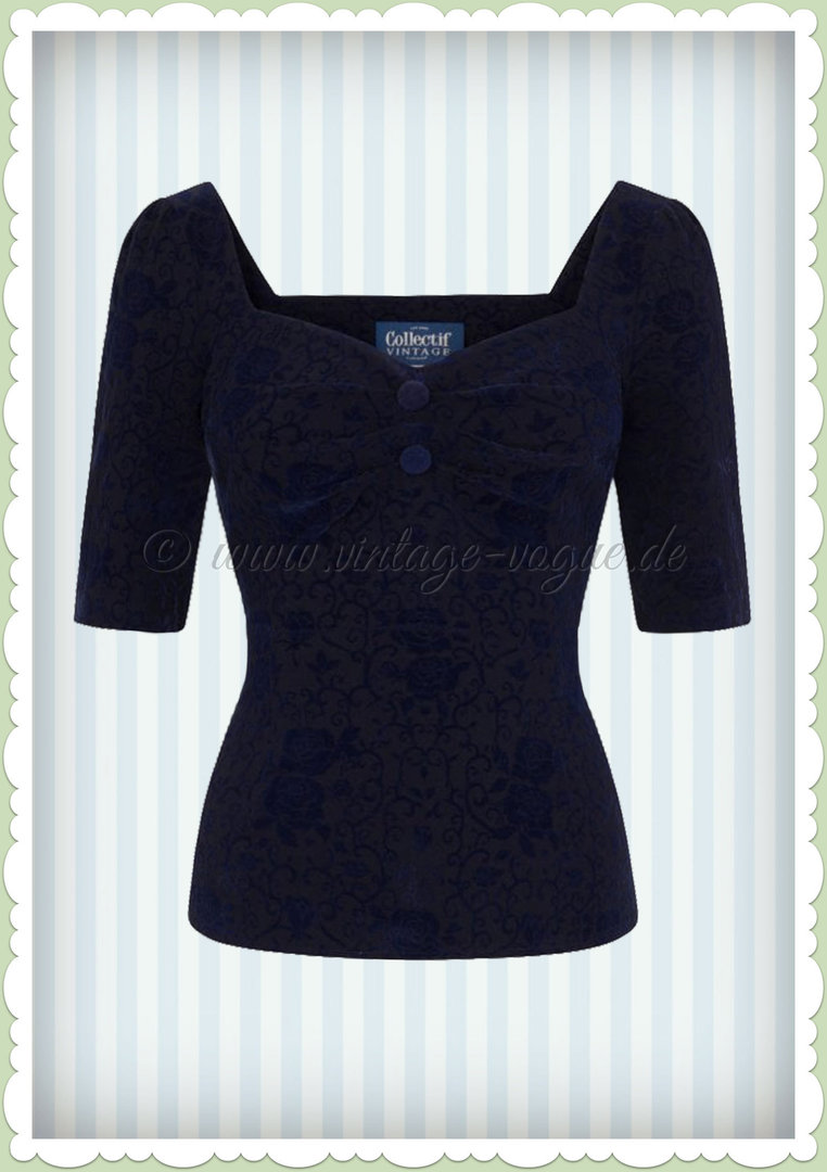Collectif 40er Jahre Retro Vintage Top - Dolores Brocade Rose - Navy Blau