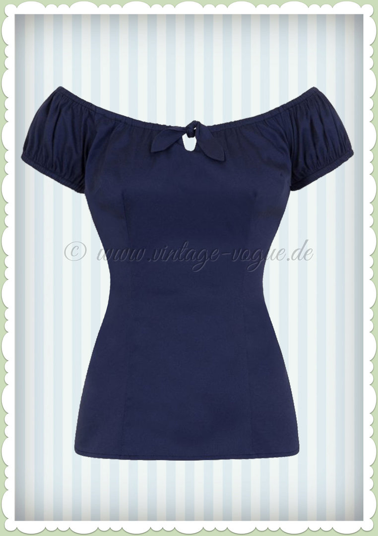 Collectif 50er Jahre Vintage Retro Top Shirt  - Lorena - Navy Blau