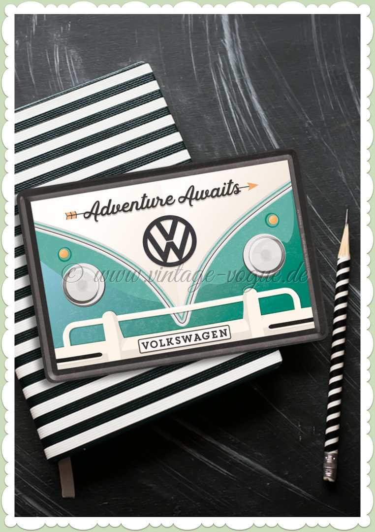 "Nostalgic Art Retro Oldtimer Blechpostkarte ""VW Bulli - Adventure Awaits"""