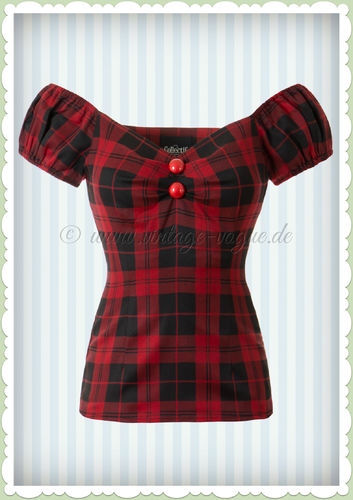 Collectif 50er Jahre Retro Tartan Pin Up Vintage Top - Dolores - Schwarz Rot