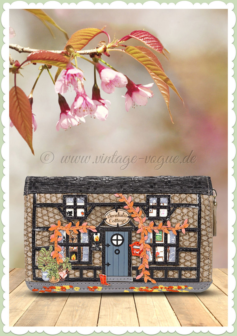 Vendula London 60er Jahre Retro Portmonnaie - Winter Cottage - Braun Grau