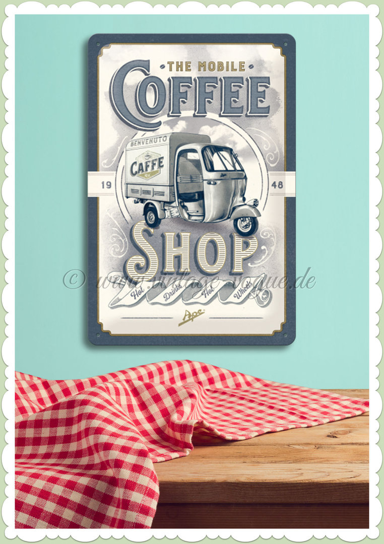 "Nostalgic Art Retro Pin Up Blechschild ""Ape - Coffee Shop"""