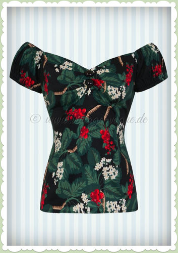Collectif 50er Jahre Pin Up Retro Vintage Floral Top - Dolores - Schwarz