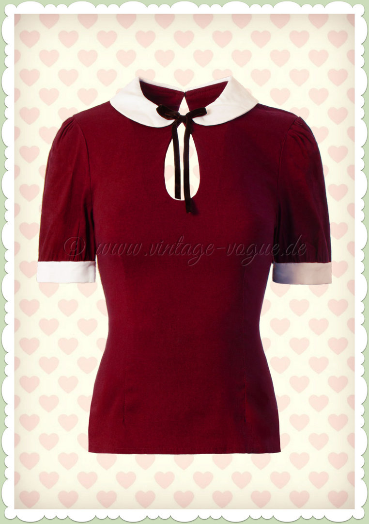 Collectif 40er Jahre Vintage Retro Basis Shirt - Khloe - Burgundy Weiß