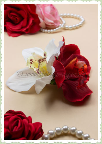 Lady Luck 50er Jahre Retro Vintage Haarblume Orchidee - Ginger - Weiß Rot