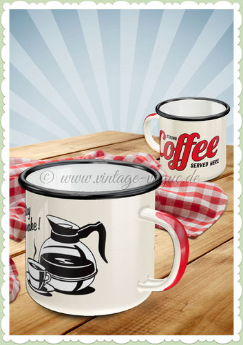 "Nostalgic Art Retro Emaille-Becher ""Strong Coffee Served Here"""