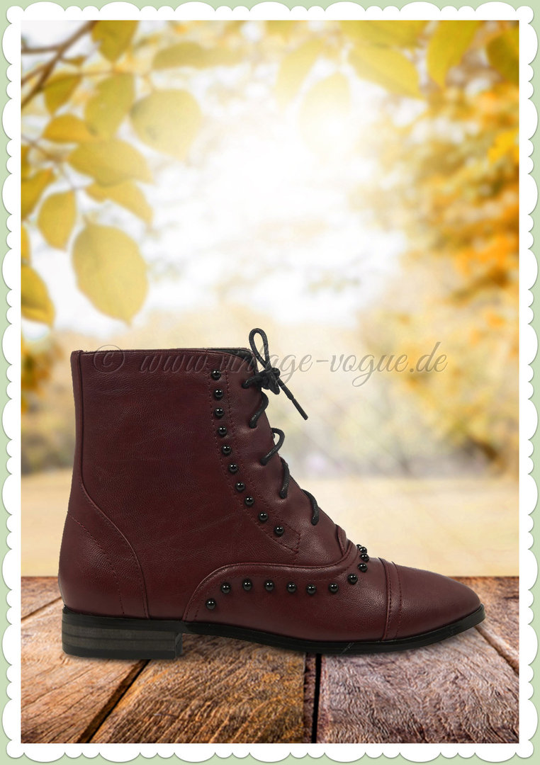 Banned 50er Jahre Vintage Ankle Boot Stiefelette - Magic Carpet - Weinrot