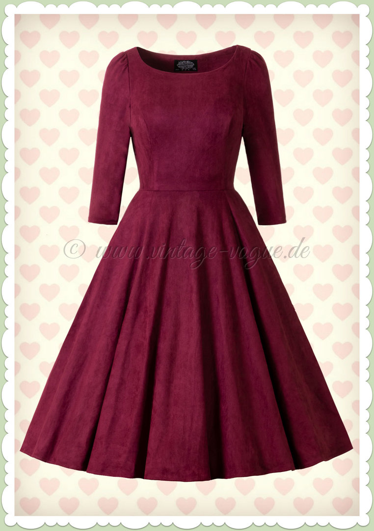 Hearts & Roses 13er Jahre Vintage Rockabilly Kleid - Windy - Weinrot