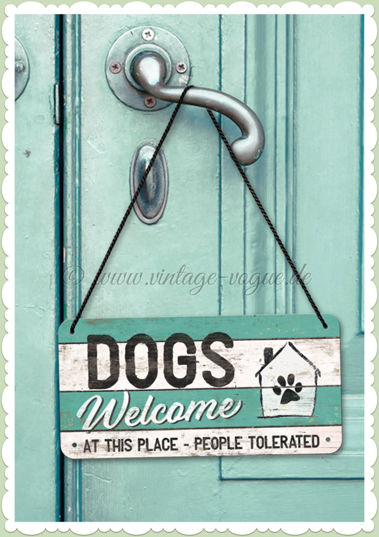 "Nostalgic Art Retro Pin Up Hängeschild ""PfotenSchild - Dogs Welcome"""