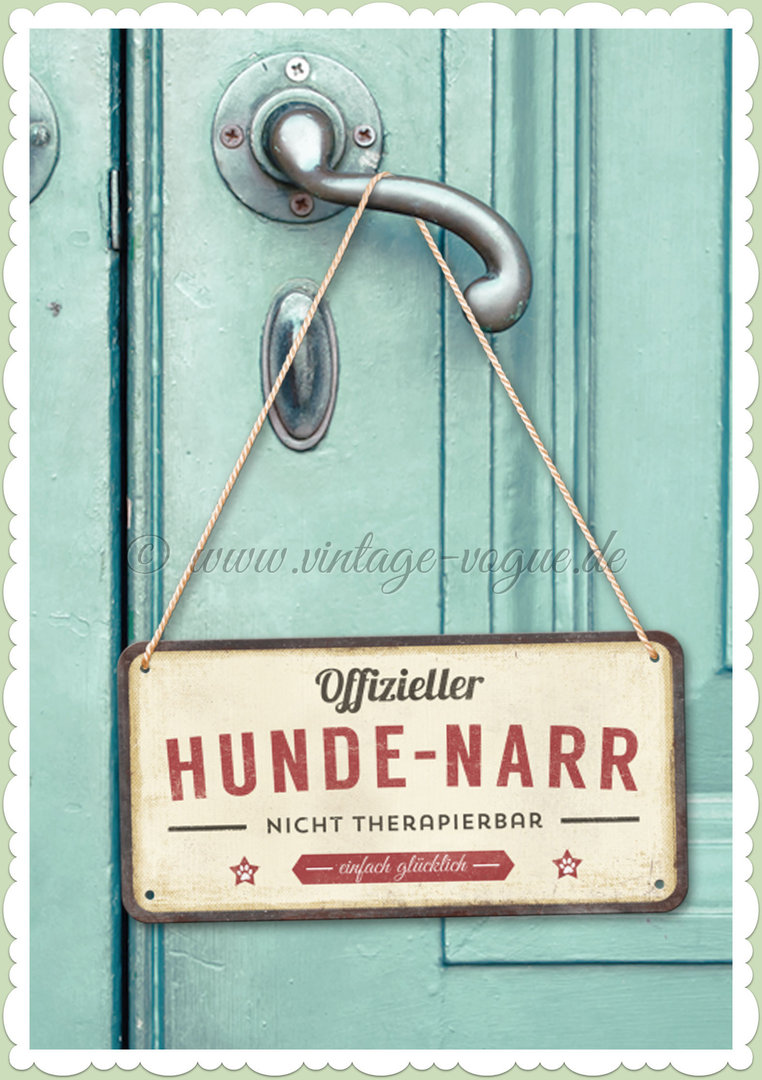 "Nostalgic Art Retro Pin Up Hängeschild ""PfotenSchild - Hunde-Narr"""