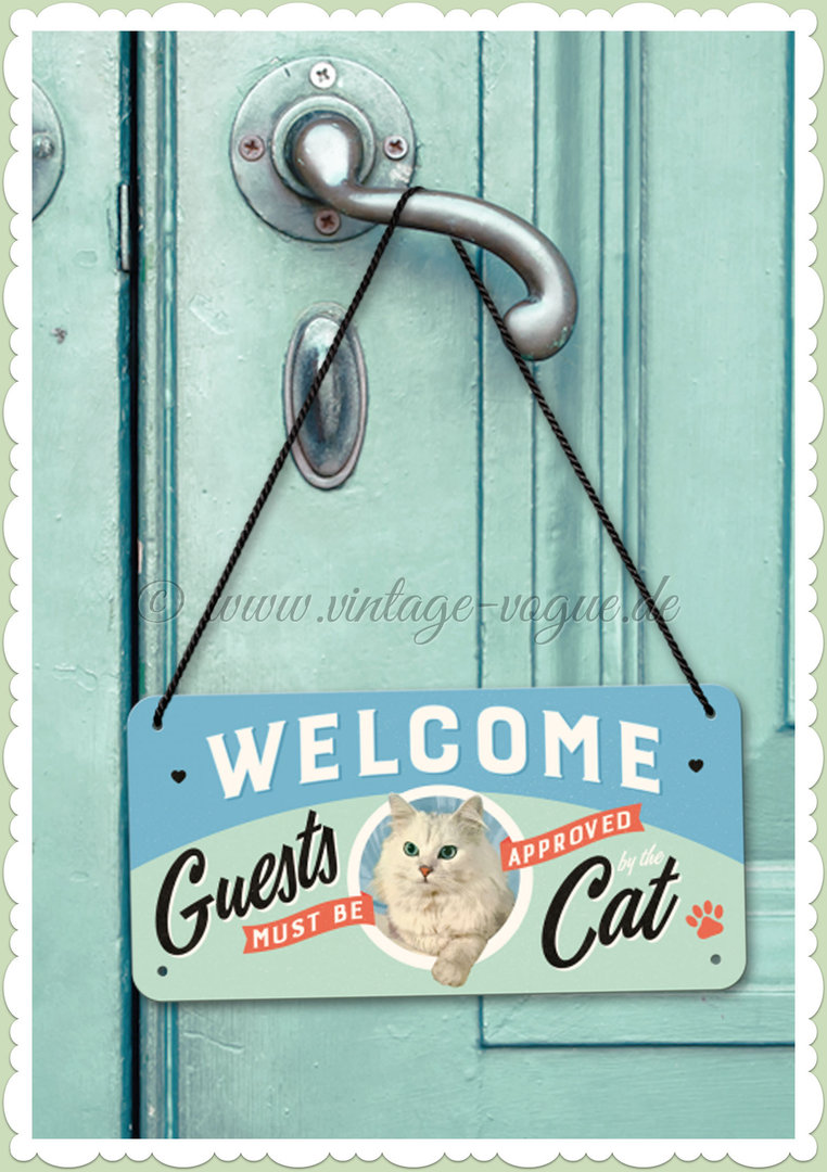 "Nostalgic Art Retro Pin Up Hängeschild ""Welcome Guests Cat"""