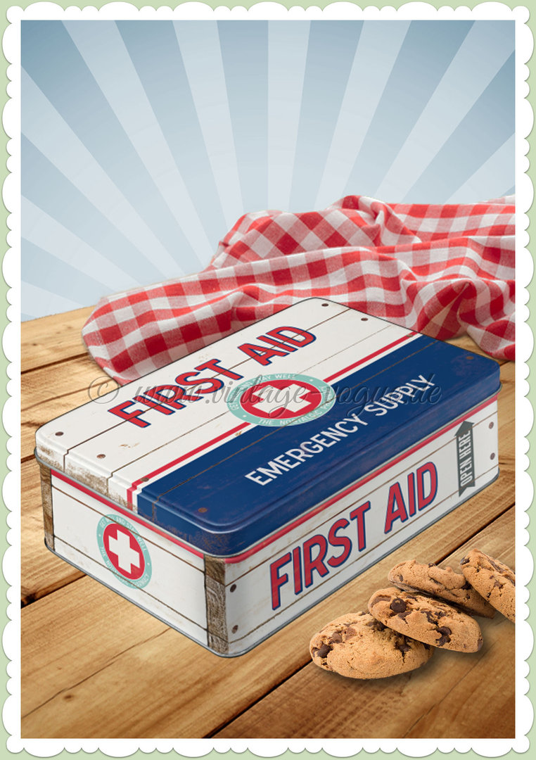"Nostalgic Art Retro Vorratsdose Flach ""First Aid Blue - Emergency Supply"""