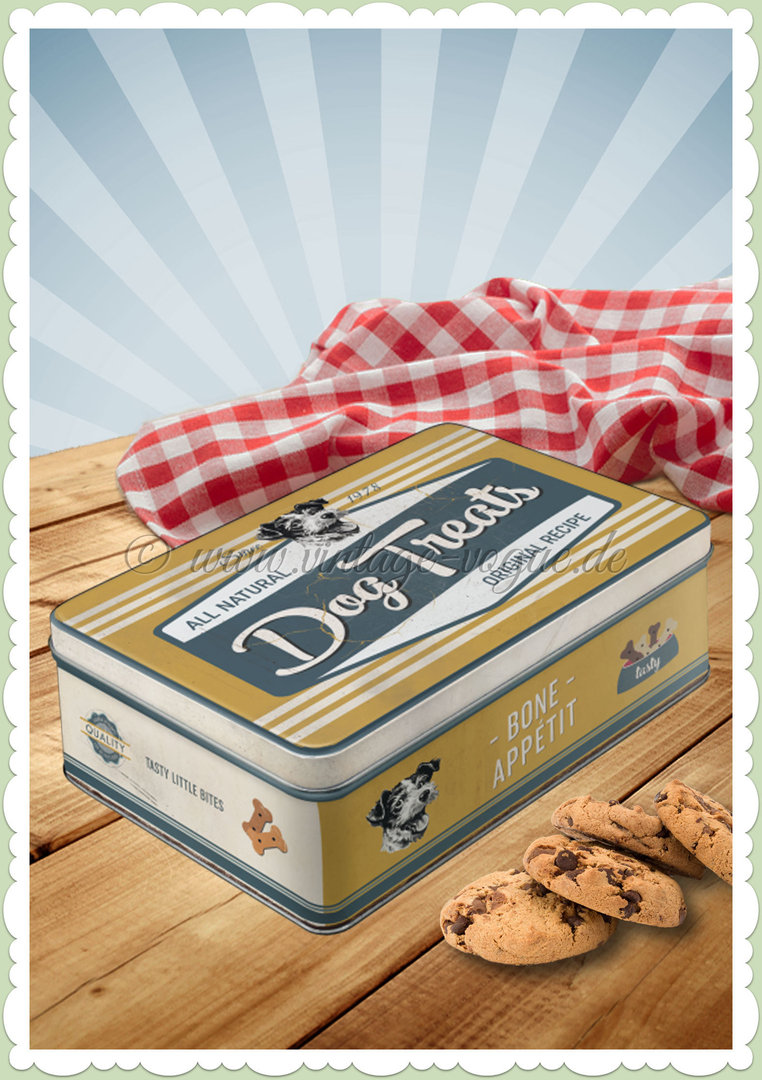 "Nostalgic Art Retro Vorratsdose Flach ""PfotenSchild - Dog Treats"""