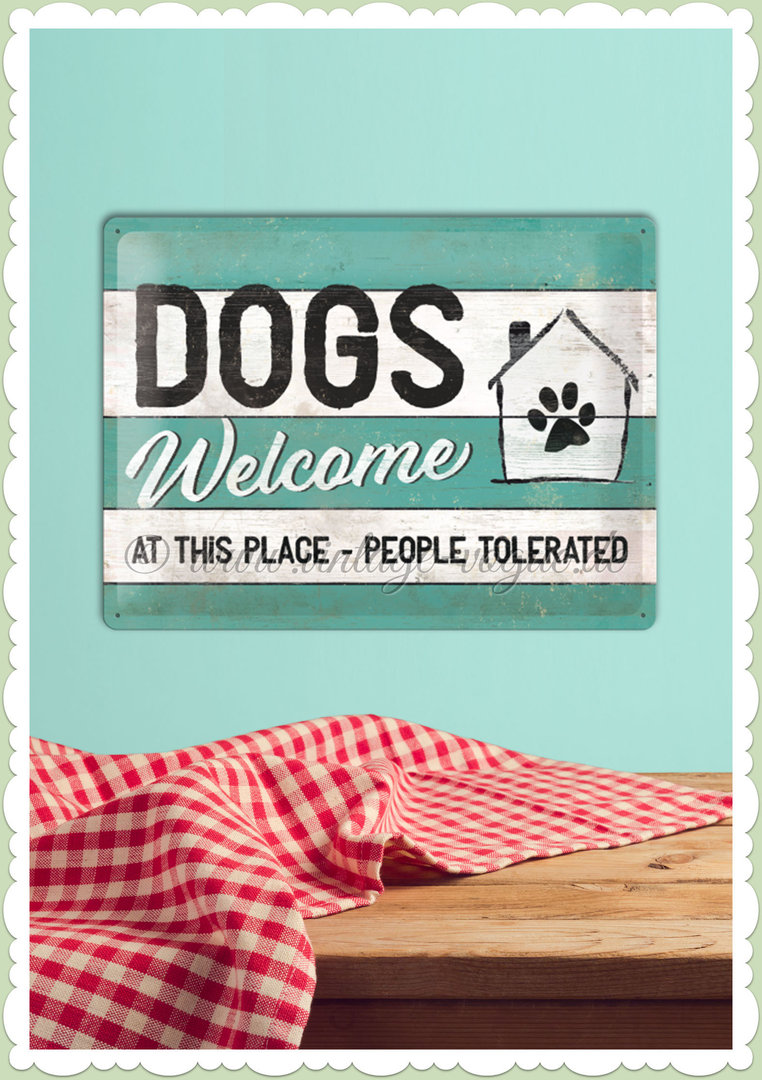 "Nostalgic Art Retro Vintage Blechschild ""PfotenSchild - Dogs Welcome"""