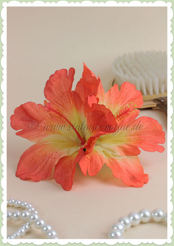Lady Luck 50er Jahre Retro Vintage Haarblume Hibiskus - Debra - Orange