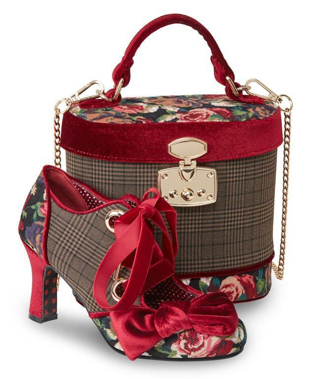 71dc7c25368cdd Joe Browns 40er Jahre Retro Vintage Floral Schuhe Pumps - Rubin - Rot