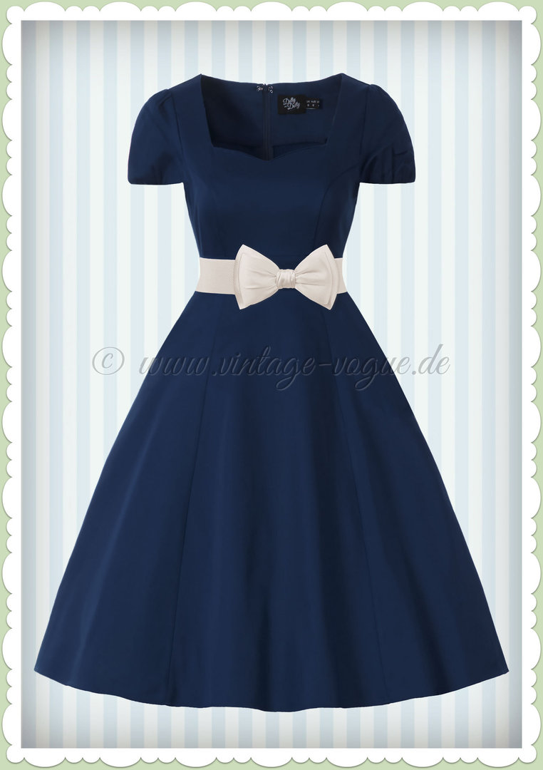 Dolly & Dotty 50er Jahre Rockabilly Petticoat Kleid - Claudia - Navy Blau
