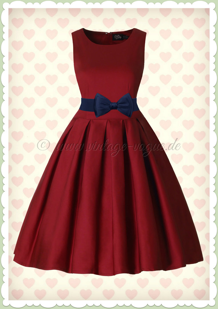 Dolly & Dotty 50er Jahre Vintage Retro Petticoat Kleid - Lola - Weinrot