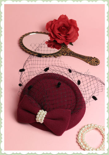 Collectif 40er Jahre Retro Vintage Fascinator Hütchen - Lorrie Pearl - Burgundy