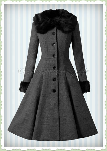 Collectif 50er Jahre Vintage Rockabilly Winter Mantel - Alise - Grau