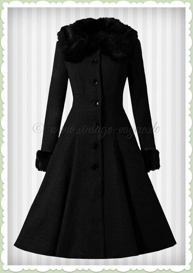 Collectif 50er Jahre Vintage Rockabilly Winter Mantel - Alise - Schwarz