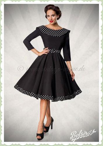 Belsira Premiun 50er Jahre Rockabilly Petticoat Swing Kleid - Schwarz Weiß
