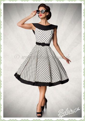 Belsira Premiun 50er Jahre Rockabilly Petticoat Swing Kleid - Weiß Schwarz