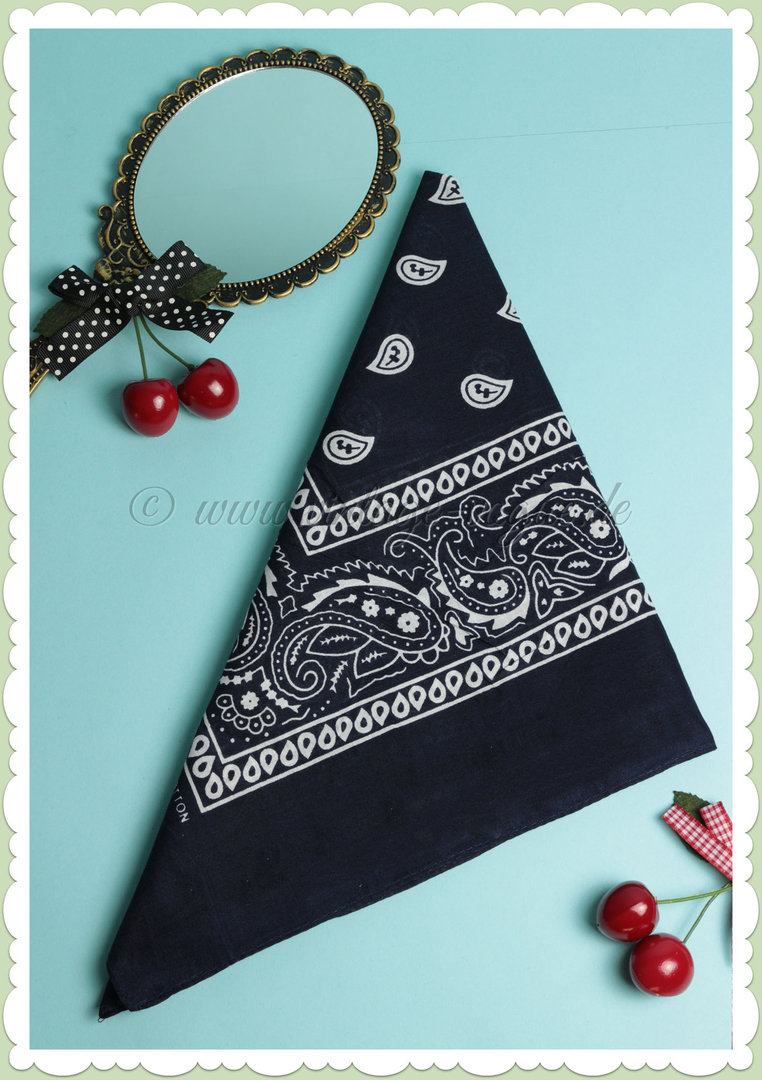 Banned 50s Pin Up Retro Rockabilly Paisley Haartuch / Bandana in Navy Blau