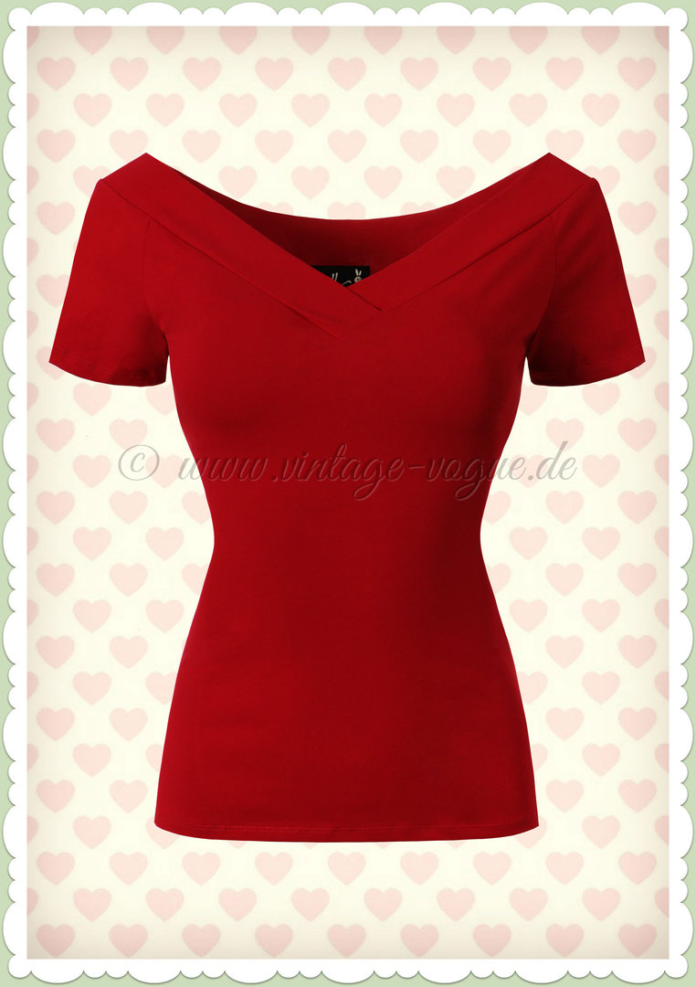 Hell Bunny 50er Jahre Retro Vintage Basic Top - Alex - Rot
