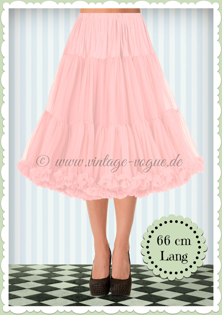 Banned 1950's Rockabilly Swing Petticoat Rüschen Tanzrock in Rosa