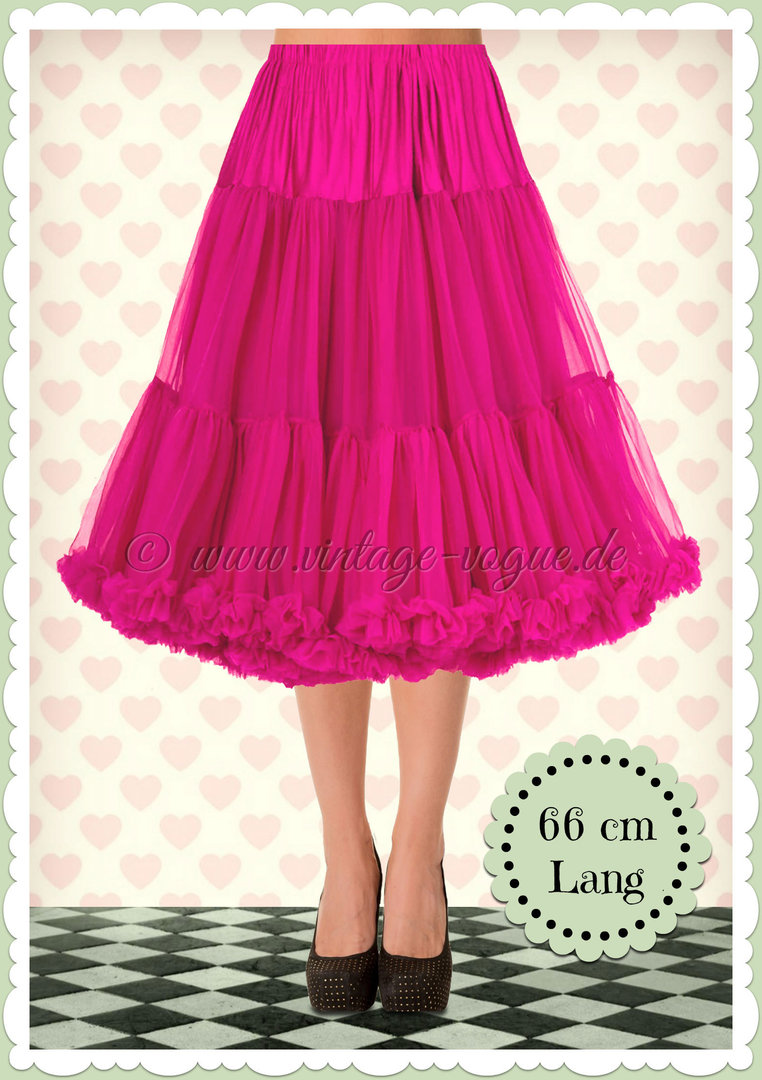 Banned 1950's Rockabilly Swing Petticoat Rüschen Tanzrock in Pink