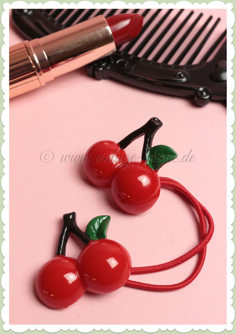 Banned 50er Pin Up Rockabilly Cherry Haarband / Zopfgummi - Rot