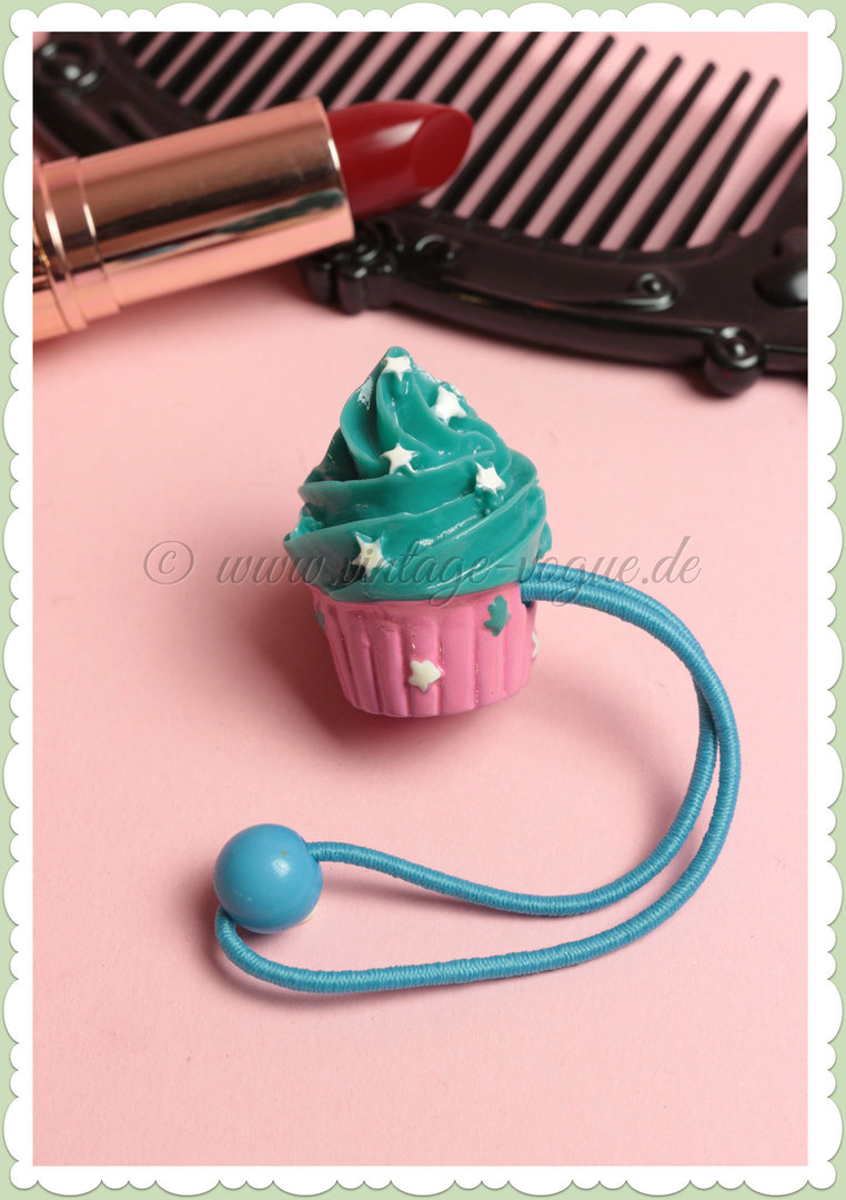 Banned 50er Pin Up Rockabilly Cupcake Haarband / Zopfgummi - Blau Pink