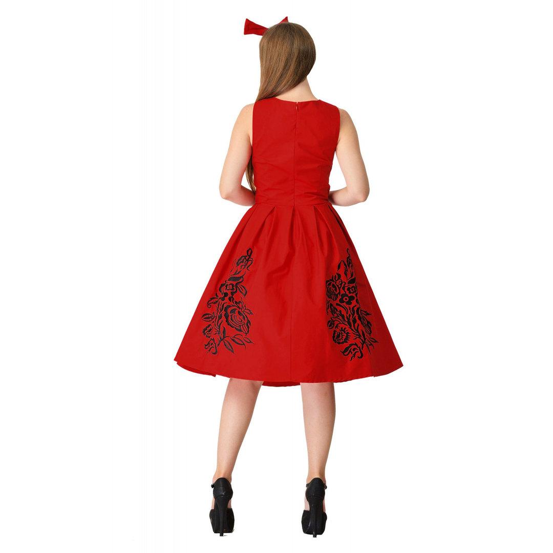 eac59255f11b74 Dolly & Dotty 50er Jahre Retro Floral Petticoat Kleid - Annie - Rot Schwarz