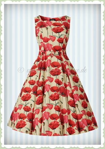 Hearts & Roses 50er Jahre Retro Floral Petticoat Kleid - Sweet Poppy - Beige