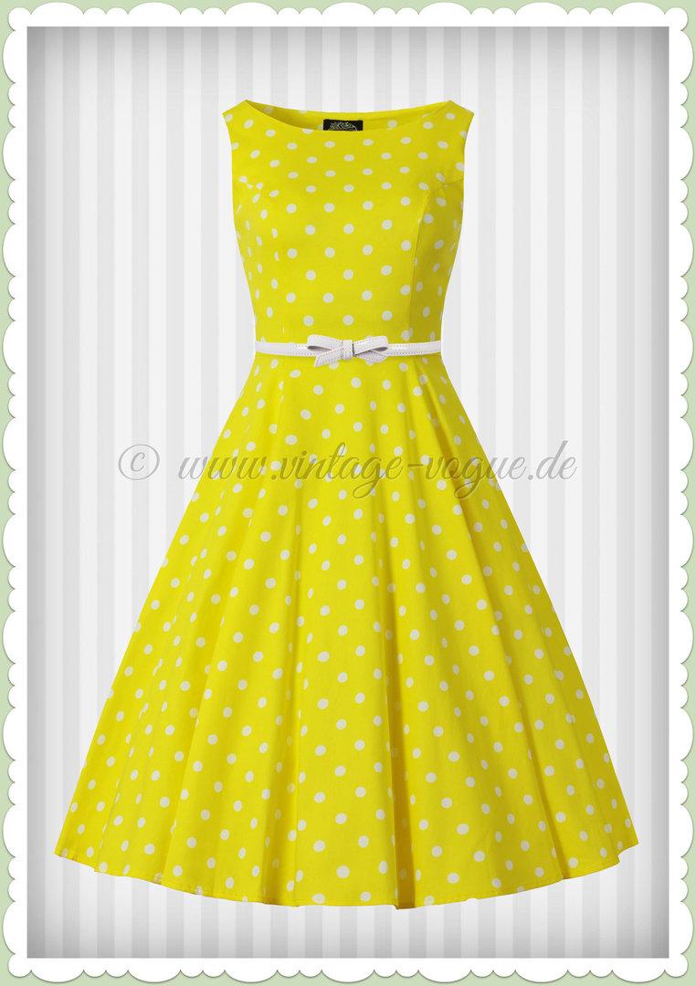 Hearts & Roses 11er Jahre Rockabilly Vintage Punkte Kleid - Cinly - Gelb