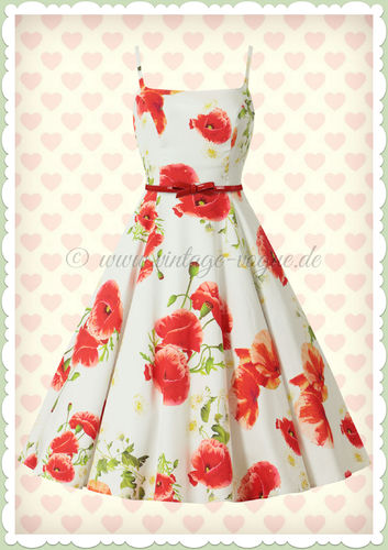 Hearts & Roses 50er Jahre Retro Floral Petticoat Kleid - Red Poppy - Weiß