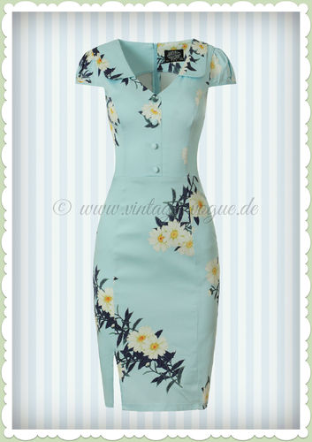 Hearts & Roses 50er Jahre Retro Vintage Pencil Kleid - Daisy - Hell Blau