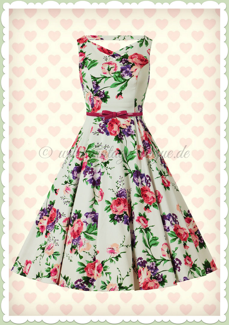 Hearts & Roses 50er Jahre Retro Floral Petticoat Kleid - Molly Rose - Weiß