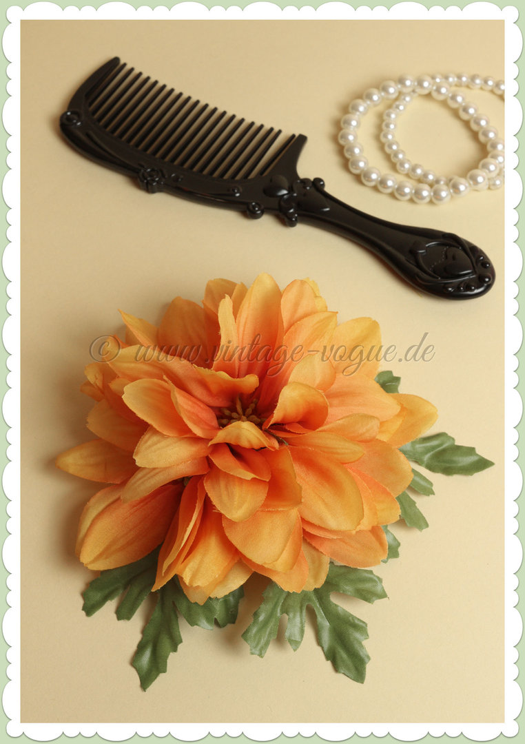 Collectif 50er Jahre Rockabilly Vintage Haarblume Haarschmuck - Orange