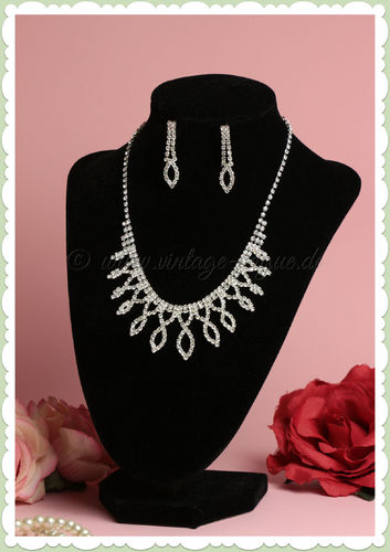 Collectif 50er Jahre Retro Rockabilly Schmuck Set - Deco Diamante - Silber