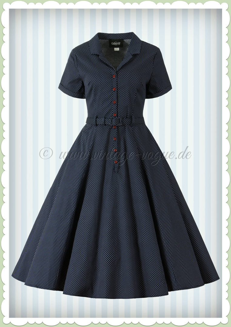 Collectif 40er Jahre Rockabilly Vintage Punkte Kleid - Caterina - Navy Blau
