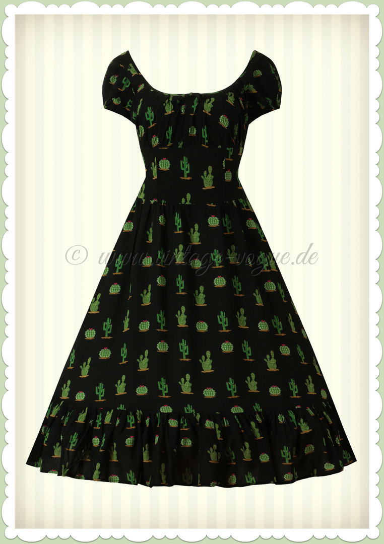 789bf578230f95 Collectif 50er Jahre Vintage Retro Kaktus Kleid Dress - Carmen - Schwarz