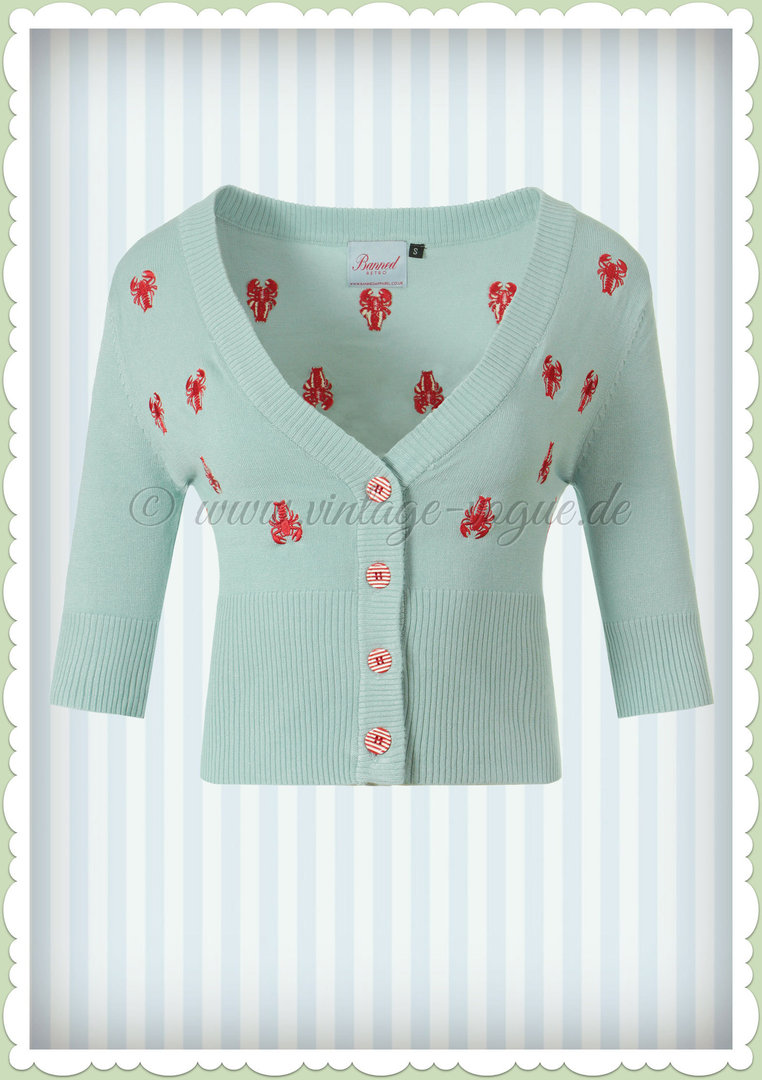 Banned 50er Jahre Vintage Rockabilly Cardigan - Lobster - Hell Blau
