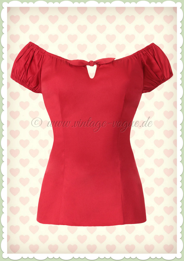 Collectif 50er Jahre Vintage Retro Top Shirt  - Lorena - Rot