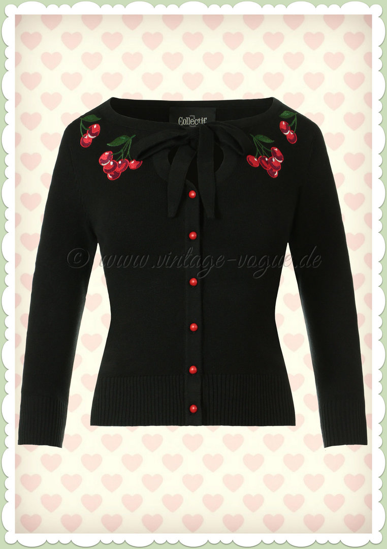 Collectif 50er Jahre Rockabilly Strickjacke - Charlene Cherries - Schwarz