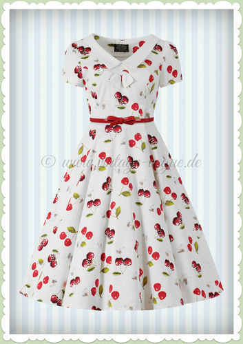 Hearts & Roses 50er Jahre Vintage Petticoat Kleid - Cherry-On-Top - Weiß Rot