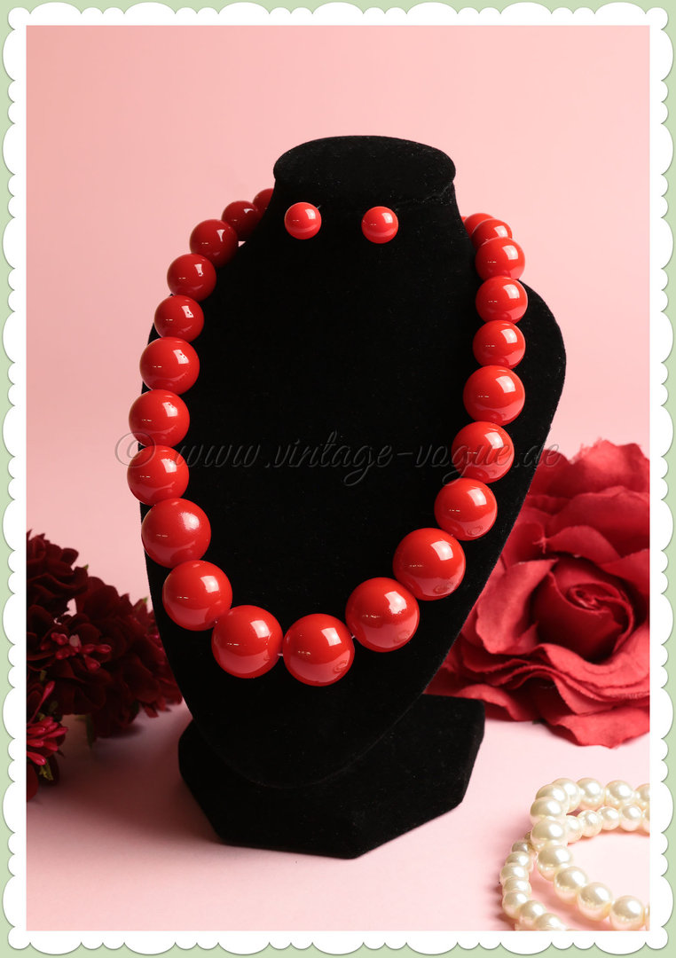 Collectif 50er Jahre Vintage Rockabilly Perlen Schmuck Set - Bead - Rot